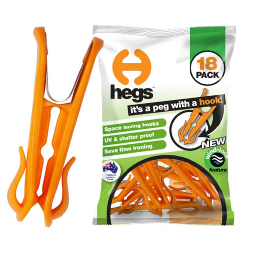 HEGS Universal Award Winning Orange Clothes Pegs (18-Pack)