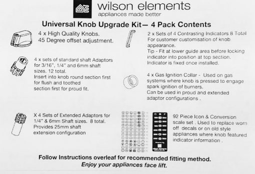 Wilson Universal Cooktop Appliance Knobs Installation Instructions 1