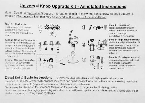 Wilson Universal Cooktop Appliance Knobs Installation Instructions